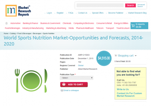 World Sports Nutrition Market-Opportunities and Forecasts'
