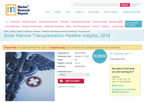 Bone Marrow Transplantation-Pipeline Insights, 2016'