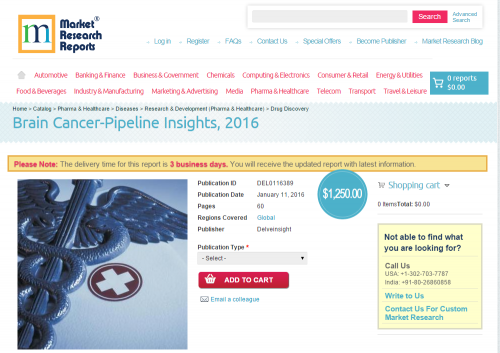 Brain Cancer-Pipeline Insights, 2016'
