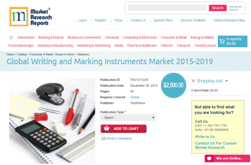 Global Writing and Marking Instruments Market 2015 - 2019'