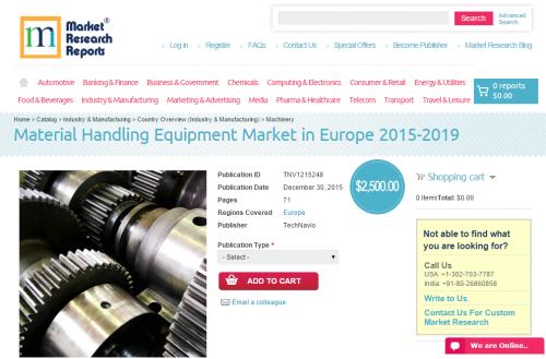 Material Handling Equipment Market in Europe 2015 - 2019'