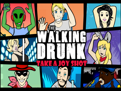 The Walking Drunk board game cover.'