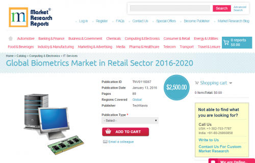 Global Biometrics Market in Retail Sector 2016 - 2020'