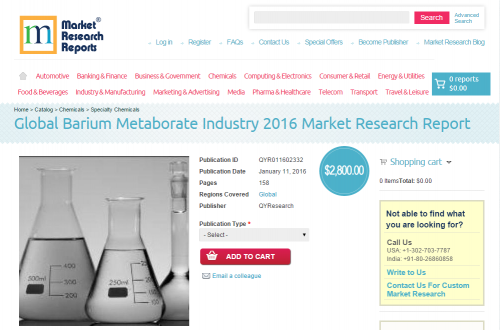 Global Barium Metaborate Industry 2016'