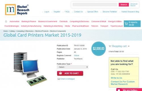 Global Card Printers Market 2015 - 2019'