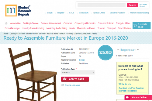 Ready to Assemble Furniture Market in Europe 2016 - 2020'