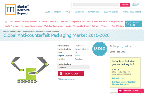 Global Anti-counterfeit Packaging Market 2016 - 2020'