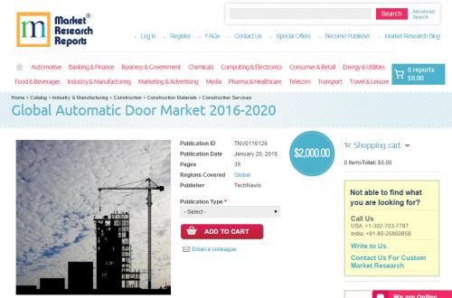 Global Automatic Door Market 2016 - 2020'