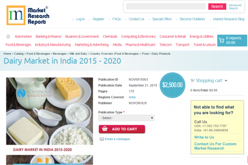 Dairy Market in India 2015 - 2020'