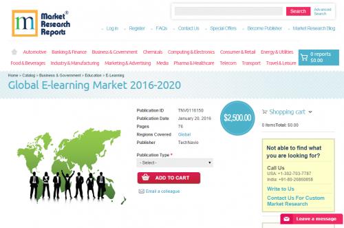 Global E-learning Market 2016 - 2020'