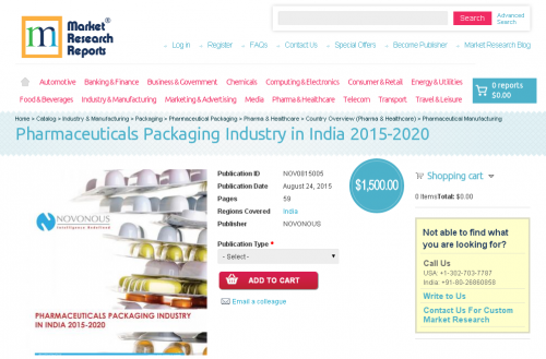 Pharmaceuticals Packaging Industry in India 2015 - 2020'