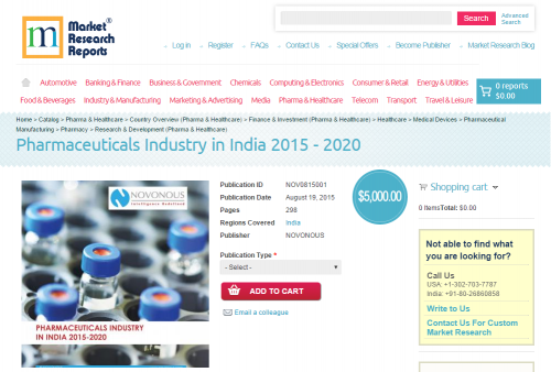 Pharmaceuticals Industry in India 2015 - 2020'