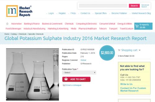 Global Potassium Sulphate Industry 2016'