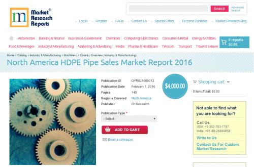 North America HDPE Pipe Sales Market Report 2016'