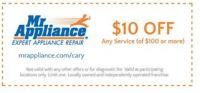 Mr. Appliance in Cary offering $10 off service calls even fo