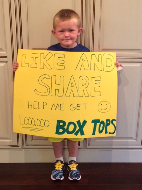 Box Top Wesley, a local kindergartner on quest.'
