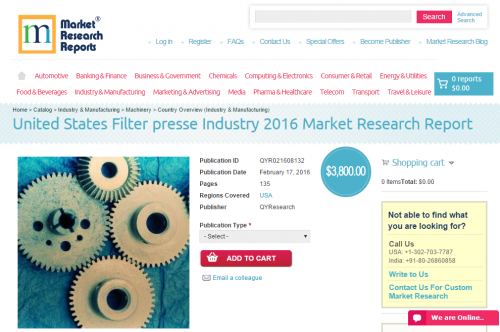 United States Filter presse Industry 2016'