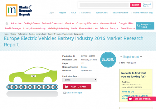 Europe Electric Vehicles Battery Industry 2016'