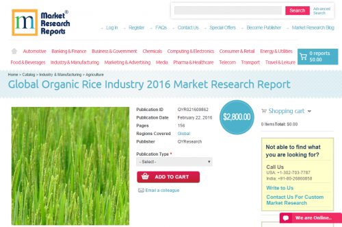 Global Organic Rice Industry 2016'