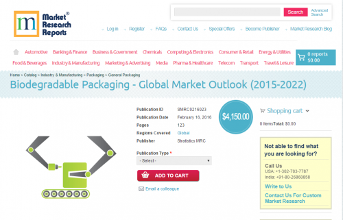 Biodegradable Packaging - Global Market Outlook (2015-2022)'