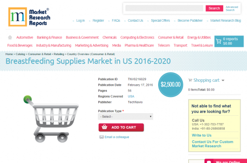 Breastfeeding Supplies Market in US 2016 - 2020'