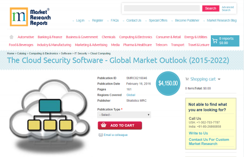 Cloud Security Software Global Market Outlook 2015 - 2022'