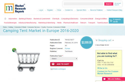 Camping Tent Market in Europe 2016 - 2020'