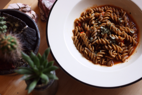Cricket Pasta with red sauce'