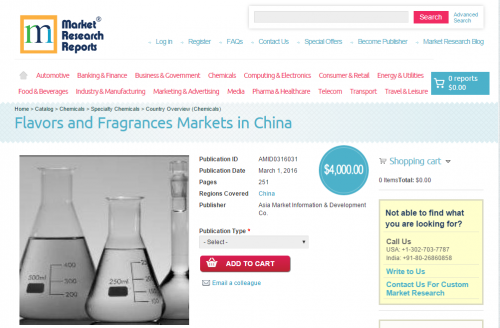 Flavors and Fragrances Markets in China'