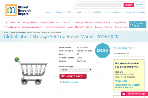 Global Inbuilt Storage Set-top Boxes Market 2016 - 2020'