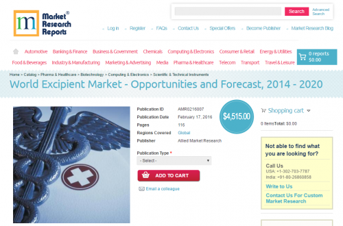World Excipient Market - Opportunities and Forecast, 2014'