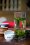 Loose leaf tea in glass'