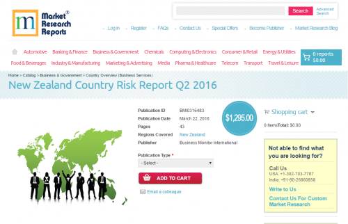 New Zealand Country Risk Report Q2 2016'