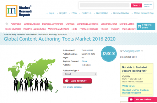 Global Content Authoring Tools Market 2016 - 2020'