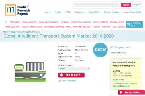 Global Intelligent Transport System Market 2016 - 2020'