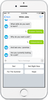 Wirkn Jobs Bot on Kik iOS Screen Shot_PersonalityTest