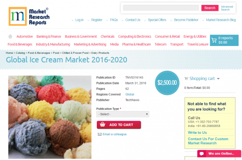 Global Ice Cream Market 2016 - 2020'