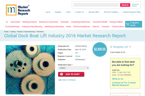 Global Dock Boat Lift Industry 2016'