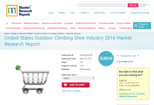 United States Outdoor Climbing Shoe Industry 2016'