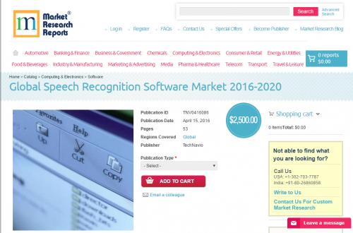 Global Speech Recognition Software Market 2016 - 2020'
