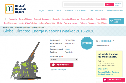 Global Directed Energy Weapons Market 2016 - 2020'