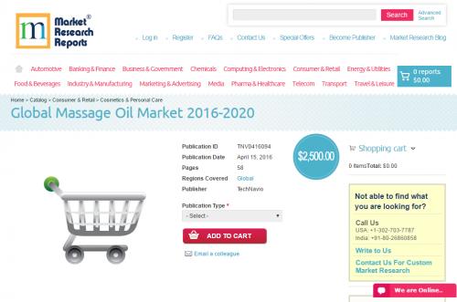 Global Massage Oil Market 2016 - 2020'