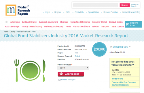 Global Food Stabilizers Industry 2016'