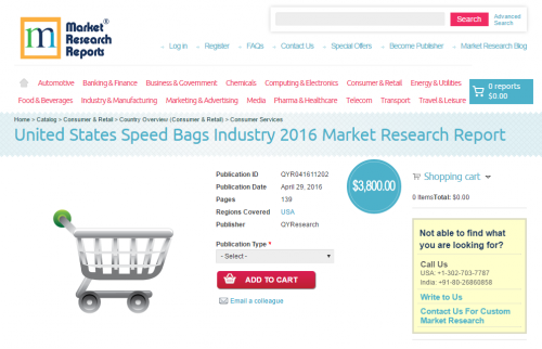 United States Speed Bags Industry 2016 Market Research Repor'