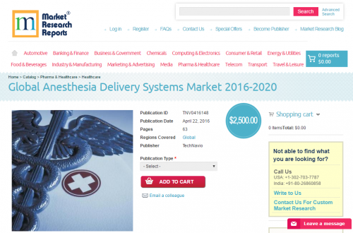 Global Anesthesia Delivery Systems Market 2016 - 2020'