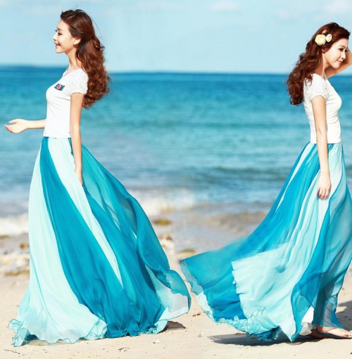 Set a new trend with Blue Gradient Maxi Boho Skirt from Mall'