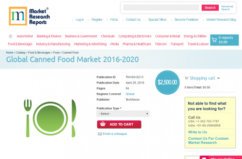 Global Canned Food Market 2016 - 2020'