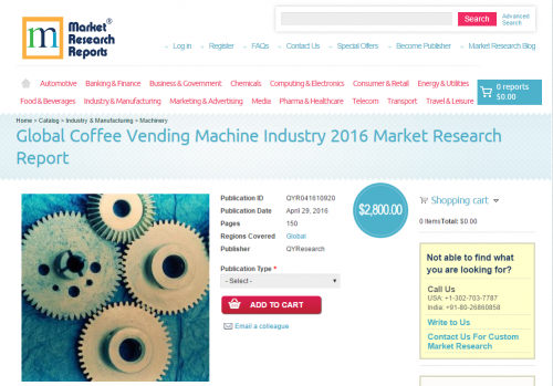 Global Coffee Vending Machine Industry 2016'