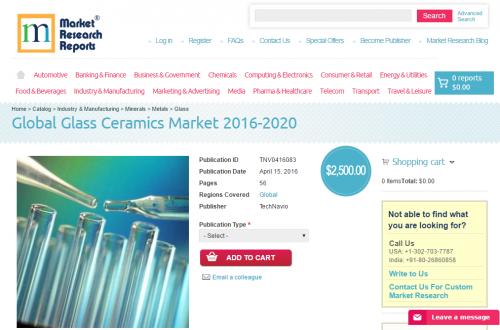 Global Glass Ceramics Market 2016 – 2020'