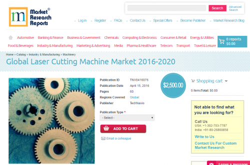 Global Laser Cutting Machine Market 2016 - 2020'